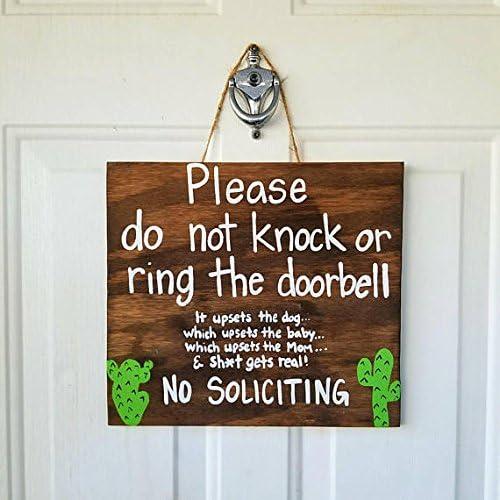 New Mom Gift Do Not Disturb Do Not Knock No Solicitation Sleeping Baby Cactus Decor Custom Made No Soliciting Door Sign