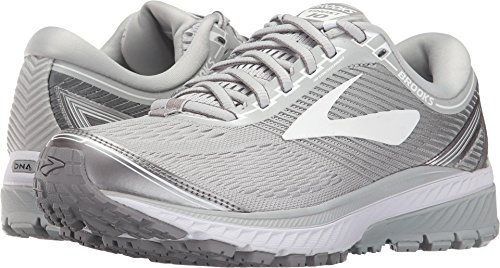 Brooks Women's Ghost 10 Microchip/White/Metallic Charcoal 9 B US