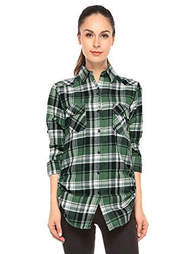 Match Women's Long Sleeve Button Down Collar Flannel Shirt #B003(Medium, Checks#3)