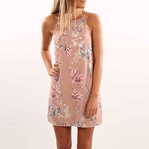 TR.OD Ladies Halter Neck Floral Print Beach Dress Spaghetti Strap Mini Dress