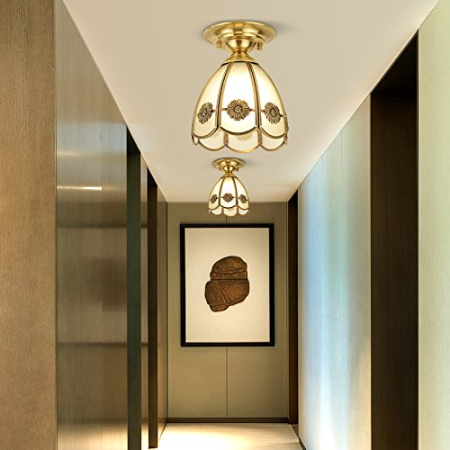 Yue Jia European American Style Ceiling Light Brass Body Frosted Glass Shade Tiffany Corridor Ceiling Lamp (YJ8650) by YUEJIA (Image #1)