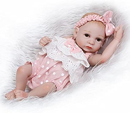 Silicone Full Body Lifelike Kids Bathing Doll Tiny Reborn Baby Doll Girl 10in