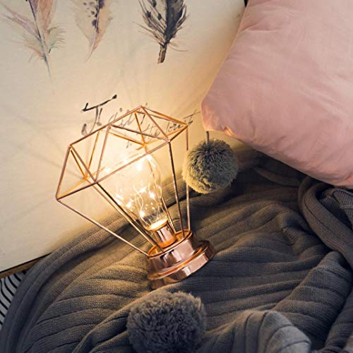 H+K+L Creative Battery Operated Desk Lamp Iron Bedroom Decoration Photography Prop Lamp (Rose Gold)