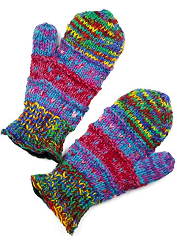 (TCG Women's Hand Knit Wool Striped Mittens - Multi-Primary Colors)
