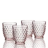 Elle Decor 229804-4OFPU Bistro Dot 4 Pc Set Fashion, Pink-Glass Elegant Barware and Drinkware, Dishwasher Safe, 10 Oz For Sale
