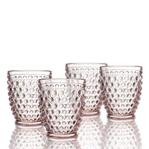 Elle Decor 229804-4OFPU Bistro Dot 4 Pc Set Fashion, Pink-Glass Elegant Barware and Drinkware, Dishwasher Safe, 10 Oz For Sale