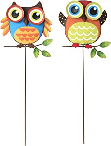 ACCENTHOME Metal Owl Garden Stakes Set of 2, Spring Fall Decor Flower Pot Decor Indoor Outdoor Decorative Ornaments Patio Yard Lawn Decorations 16