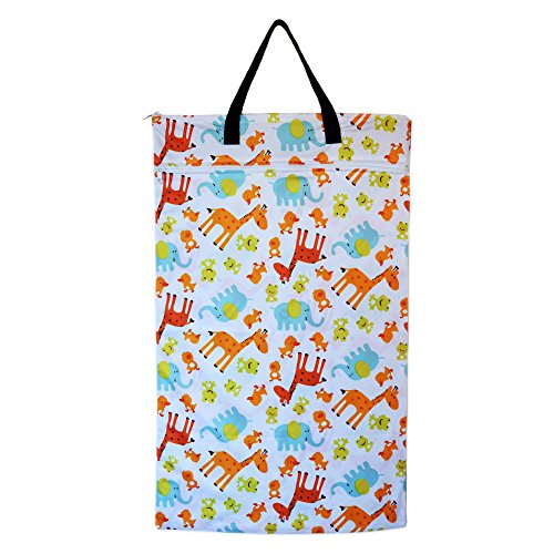 Large Hanging Wet Dry Bag for Baby Cloth Diapers or Laundry (Zoo) College Zoo