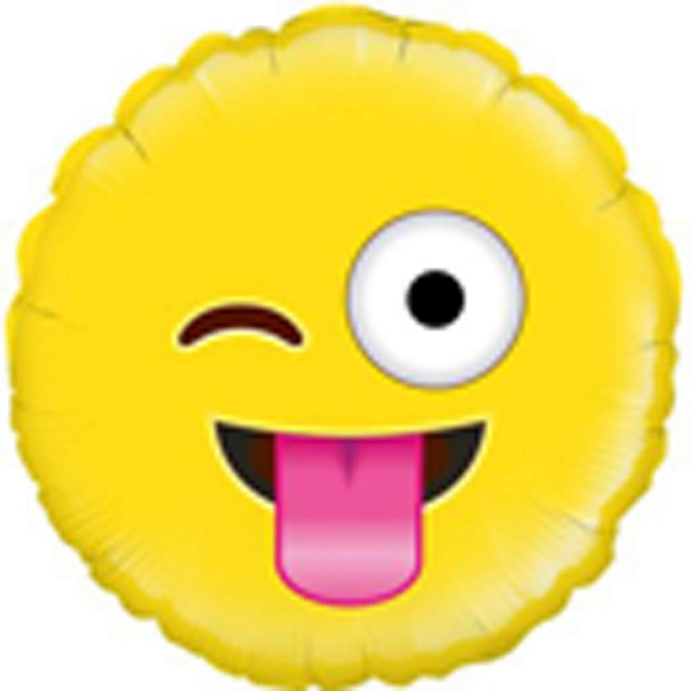 Amazon com oaktree betallic 18 inch foil crazy emoji balloon 18 inches yellow clothing