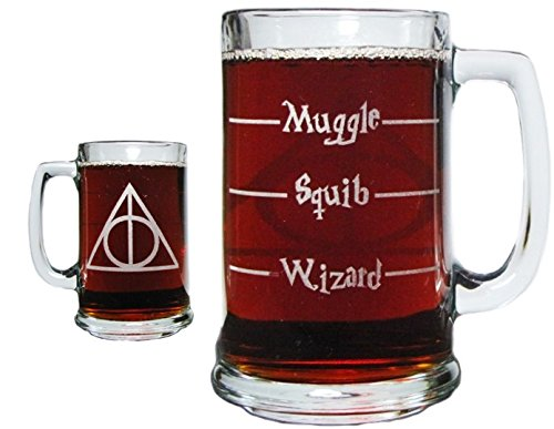 Deathly Hallows Engraved on Both Sides AND Bottom! 15oz. Beer Mug with Handle by Orange Kat
