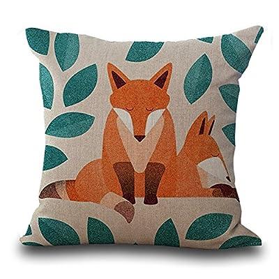 Heyfair Decorative Fox Throw Pillow Covers Cotton Linen Cushion Cases Sham Decor 18 X 18 Inch (B) - Heyfair
