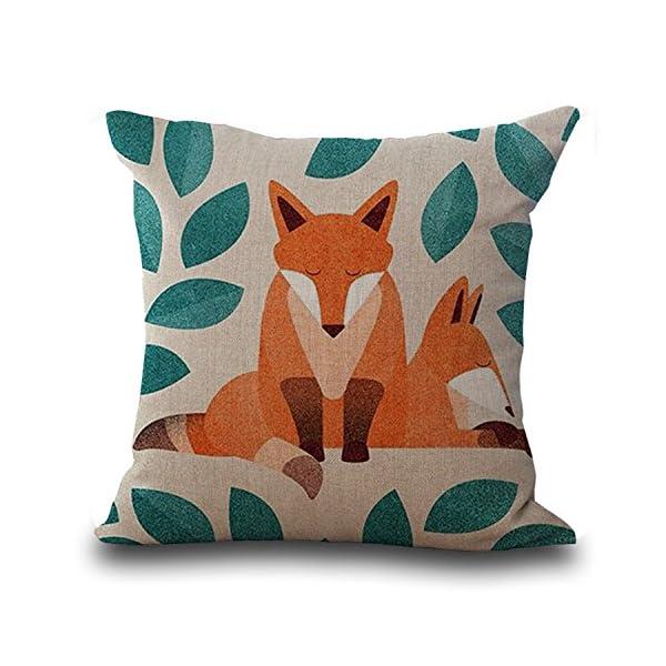 Heyfair Decorative Fox Throw Pillow Covers Cotton Linen Cushion Cases Sham Decor 18 X 18 Inch (B) -