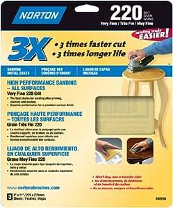 Norton Co. 2616 02616 3X Handy Aluminum-Oxide Sandpaper 220 Grit, 9 x 11-Inch, 3-Pack
