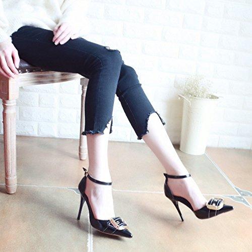 donna alta scarpe Corte scarpe sandali singolo Qiqi tacco con asolati la metallo calzature scarpe dispositivi ballo è luce rebbio di cava Xue Scarpe Nero bene di da femmina fissaggio gXwBAqnE5