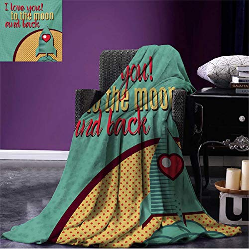 Anniutwo I Love You Throw Blanket Rocket Flying to The Space with Love Fuel Cosmic Journey Illustration Soft Turquoise Red Mustard W62 x L60 inch ()
