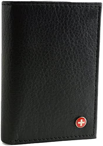 Alpine Swiss Mens Wallet RFID Blocking Extra Capacity Multi Card Trifold