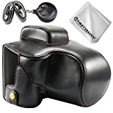 First2savvv full body Precise Fit PU leather digital camera case bag cover with should strap for Canon EOS M50 with EF-M 15-45mm lens + Cleaning cloth XJD-EOS M50-HH01