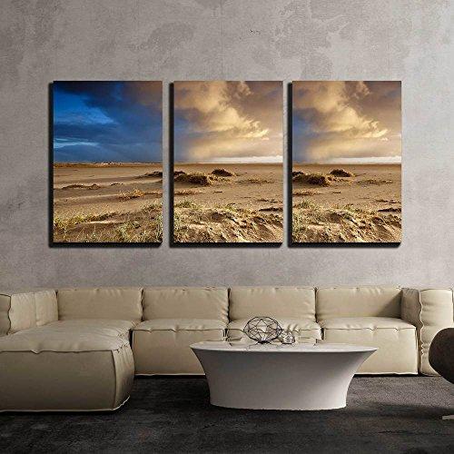 Sand Beach and Dramatic Sky Ijmuiden Netherlands x3 Panels