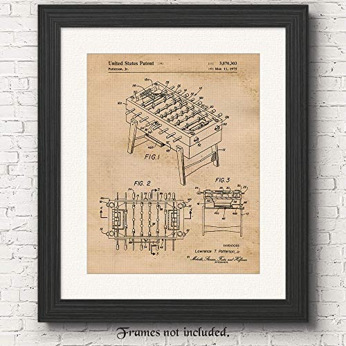 (Original Foosball Table Patent Art Poster Print- Set of 1 (One 11x14) Unframed- Great Wall Art Decor Gifts Under $15 for Home, Office, Garage, Man Cave, Game Room, Teacher, Int Foosball Tournament Fan)