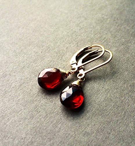 (Petite Natural Garnet Stone Gold Leverbacks Earrings for January)