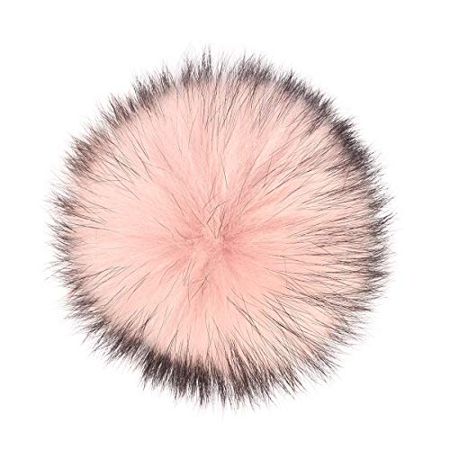 Real Raccoon Fox Fur Pompom with Button Big Fur Ball for Beanies DIY Fur Accessories