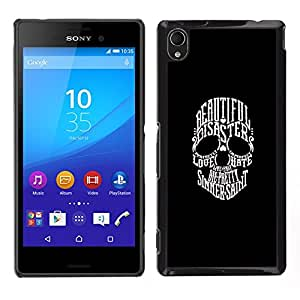 CASEMAX Slim Hard Case Cover Armor Shell FOR Sony Xperia M4 Aqua- TYPOGRAPHY SKULL - BEAUTIFUL DISASTER