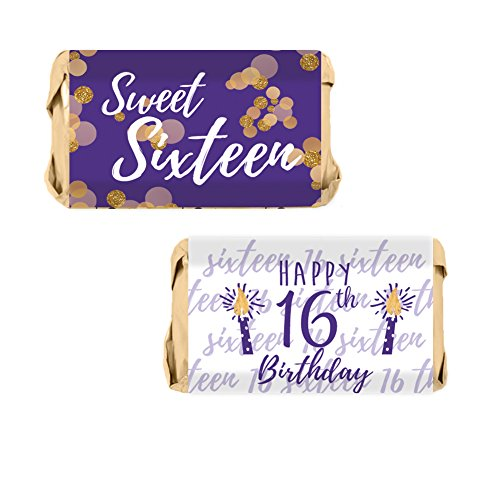 Candy Wrapper Birthday Favor (Sweet Sixteen - 16th Birthday Party Miniatures Candy Bar Wrapper Stickers, 54 Count (Purple and Gold))