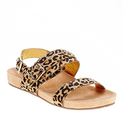 Vionic Womens 342 Samar Leather Sandals Bronceado Leopardo