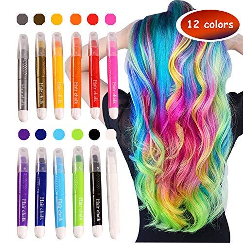 Runlong Hair Chalk, Temporary Hair Color Dye for Kids Girls, Cosplay, Halloween, Ball Party DIY Hair Style Highlight, Easy Dye and Wash Out, Gift for Kids (12 Colors)