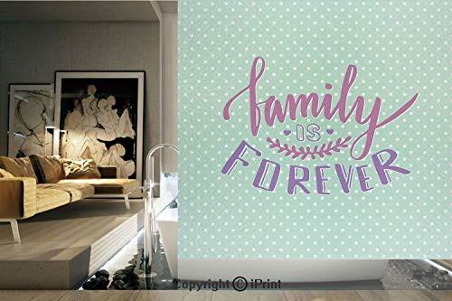 Decorative Privacy Window Film/Classical Polka Dots Background Creative Lettering Quote about Family/No-Glue Self Static Cling for Home Bedroom Bathroom Kitchen Office Decor Purple Violet Mint Green