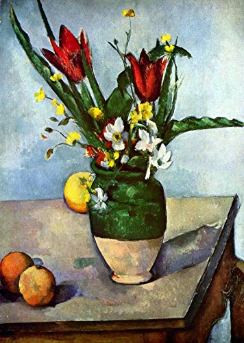 The Museum Outlet - Still Life, Tulips and Apples by Cezanne - Canvas Print Online Buy (30 X 40 Inch)