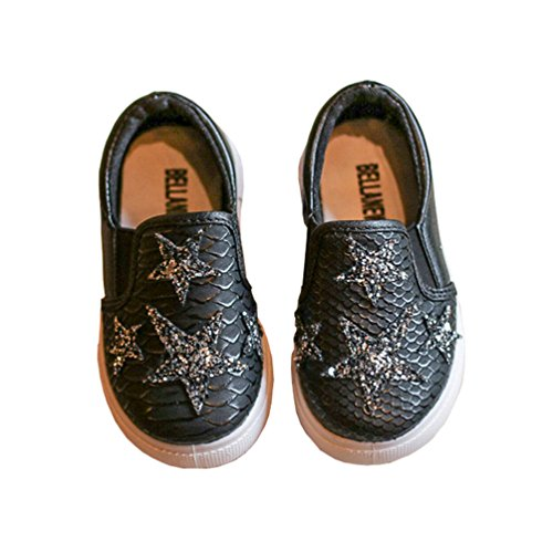 Toddler Girls Starry Fish Scale Embossed Slip On Sneakers Walking Flat Shoes Black Size 22