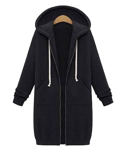 Mujer Primavera Y Otoño Trench Coat Suelto Casual Cardigan Abrigo Con Capucha Negro M