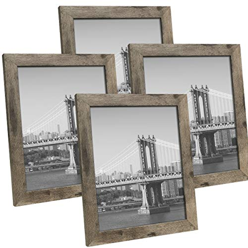 Hap Tim 8x10 Picture Frame Carbonized Black Wooden Photo Frames for Tabletop Display and Wall Decoration, Set of 4 (CWH-8x10-CB)