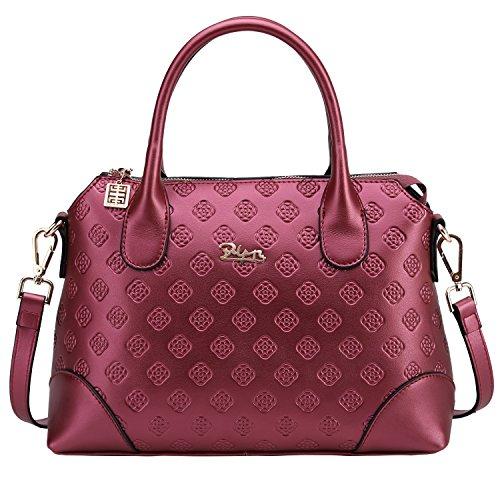 BOYATU bolso de cuero genuino para las mujeres de negocios señoras de la oficina del bolso de hombro Top Mango totalizador de la taleguilla Perlas Rojas
