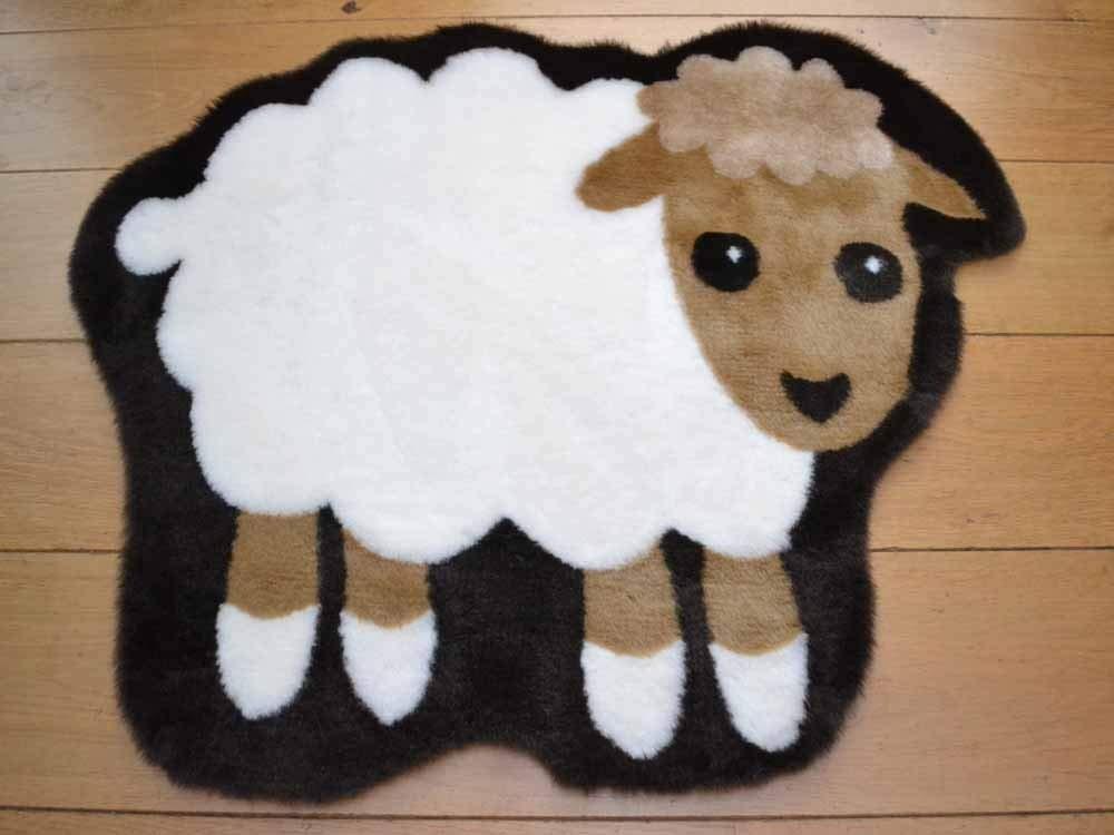Sheep Non Slip Machine Washable Sheepskin Style Kids Rug. Size 68cm x 88cm Rugs Supermarket