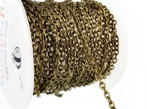 Antique Lead Brass (10ft (3.1 meter) Antique Brass Bronze Cable Chain Spool- Hypoallergenic Nickel Free (2mm x 3mm) 2.25mm)