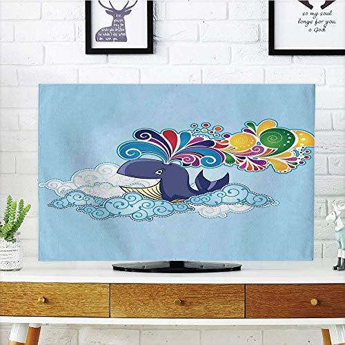 ver Customizable,Whale Decor,Cartoon Style Flying Happy Whale on Clouds with Rainbow Clods on its Head,Multi Colored,Graph Customization Design Compatible 37