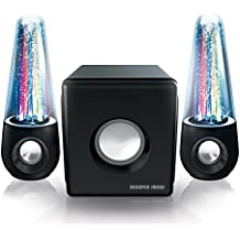 Sharper Image SBT5013 Wall Powered Bluetooth Water Speakers with Lights - Light Up Dancing Water Speakers - 2.1 Stereo System with Subwoofer - Works Also as Computer Speakers [Improved Version]