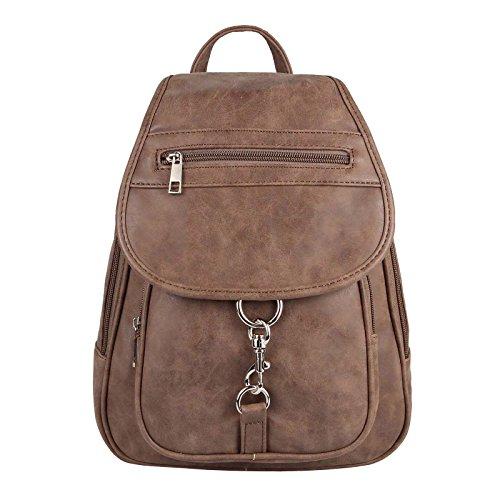 JJ Collection - Bolso mochila para mujer Rosa rosa 26x28x10 cm (BxHxT) Dunkelbraun 25x30x10 Cm