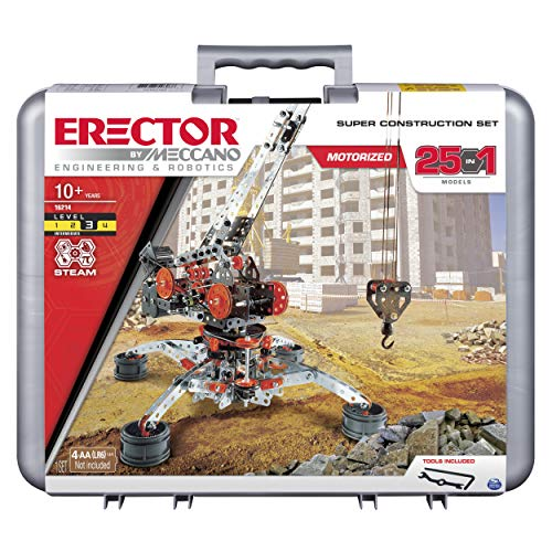 Erector by Meccano Super Construction 25-in-1 Motorized Building Set, STEM Education Toy for Ages 10 and Up from Meccano