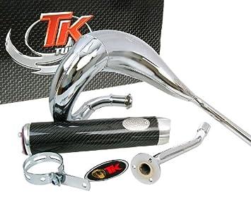 Turbo Kit bufanda RQ cromo Tubo de escape para Aprilia RX/SX 50, Derbi Senda 50, Gilera Rcr Enduro 50: Amazon.es: Coche y moto