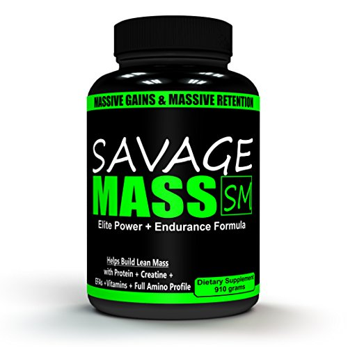 SAVAGE MASS 910 GM - (5 in 1 COMPLETE POST WORKOUT For MEN) 26 Grams Protein , Full Amino Profile, Carbs to recover, 5k mg creatine Monohydrate, Fatty acid complex, Joint Support, & Test