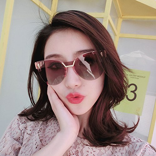Visor Pink Personality Moda Gradient Anti Frame de UV Outdoor Frame Mirror Powder Gafas Driver Half Sun Decoración Sol de UwSCqnPH