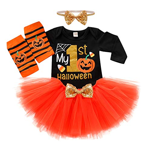 The Vaults Halloween London (TIANTI Kids Baby Girl Halloween Outfits Short Sleeve Romper+Tulle Skirt+Headband Band Leg Warmer 4PCS Clothes Set)