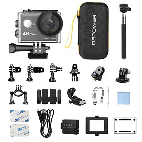 51uI6TI7EcL - DBPOWER 4K Action Camera 12MP Ultra HD Waterproof Sports Cam with Built-in WiFi 170 Degree Wide Angle Lens 2 Inch LCD Screen Plus 1050mAh Rechargeable Battery (Camera+Accessories)
