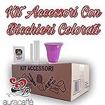 Aura caffè - Kit Accessori caffè - 600 Bustine di Zucchero - 600 Palette - 600 Bicchierini Colorati (Kit Cortesia)