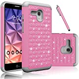 Fierce XL Case, EC™ Hybrid [Dual Layer] [Drop Protection] Studded Rhinestone Crystal Bling Protective Case Cover For Alcatel OneTouch Fierce XL (Pink+Gray)
