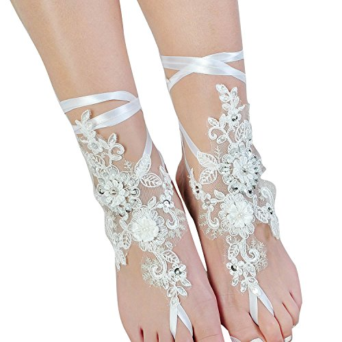 Fine Lady Lace Barefoot Sandals,Beach Wedding Anklet,Sexy Jewelry,Wedding Shoes With Sparkle Sequins by Fine Lady