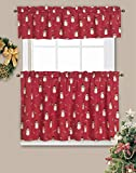 LORRAINE HOME FASHIONS Candy Cane Snowman Window Curtain Tier Pair, 60' x 24', Red